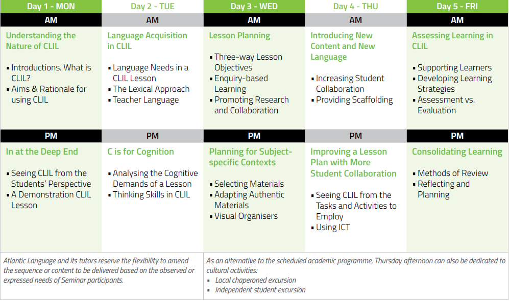 CLIL for Higher Education Timetable