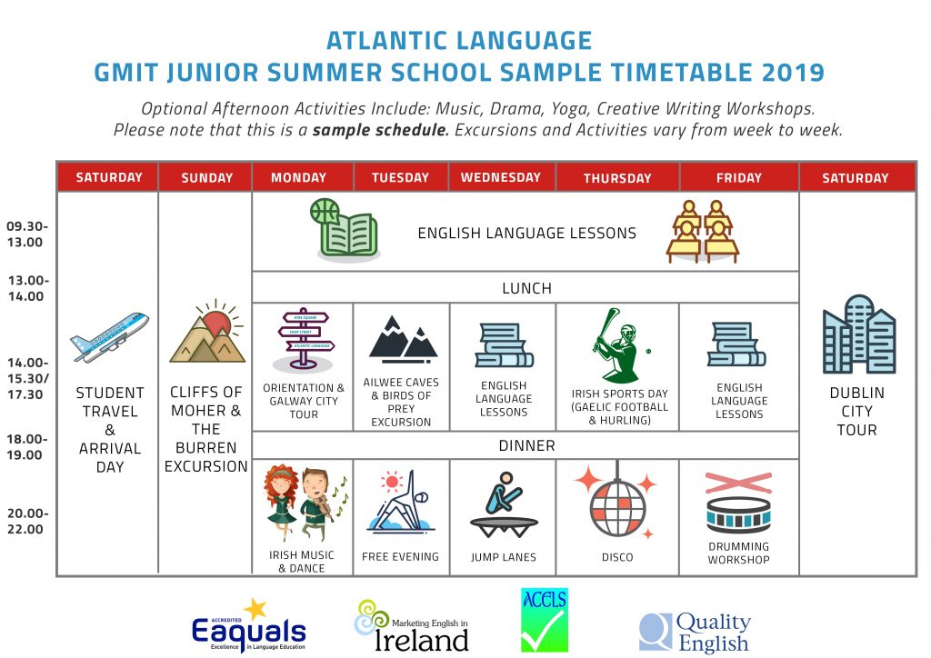 Junior Summer Programme Sample Timetable 2019